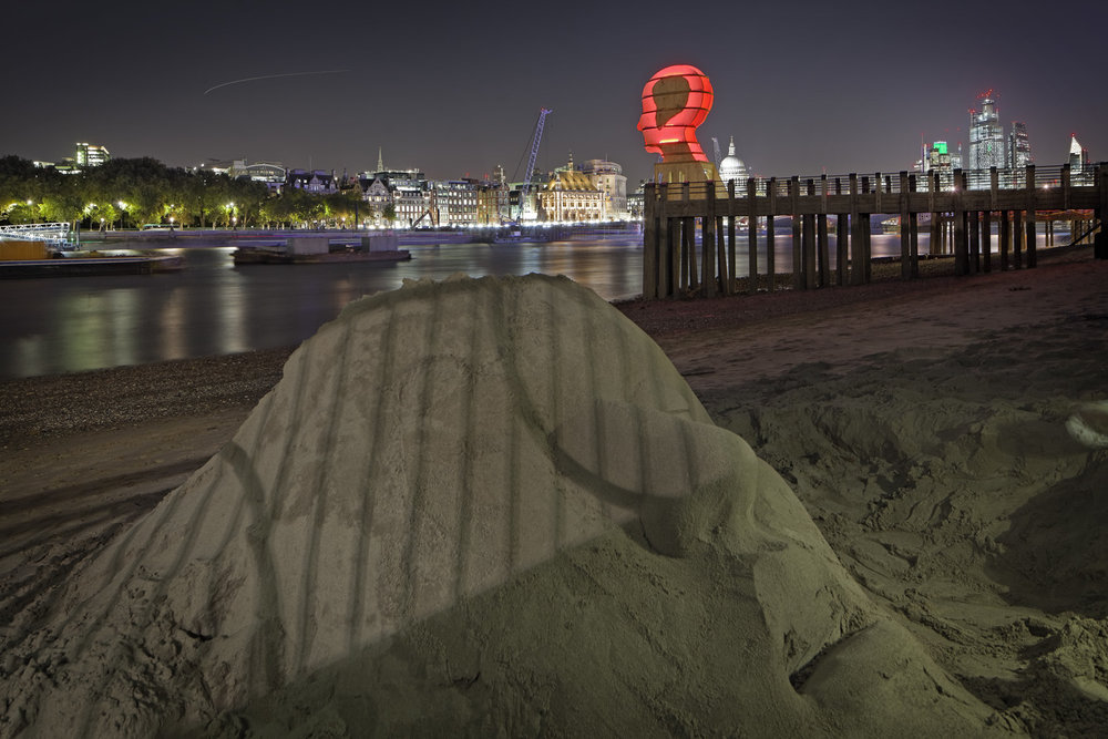 "Light sculpture, ""Head Above Water"" by Steuart Padwick on the Oxo Tower pier, South Bank, London. Interactive lighting installation by Hoare Lea Lighting. The sculpture supports Time to Change's campaign to remove the stigma of mental illness."