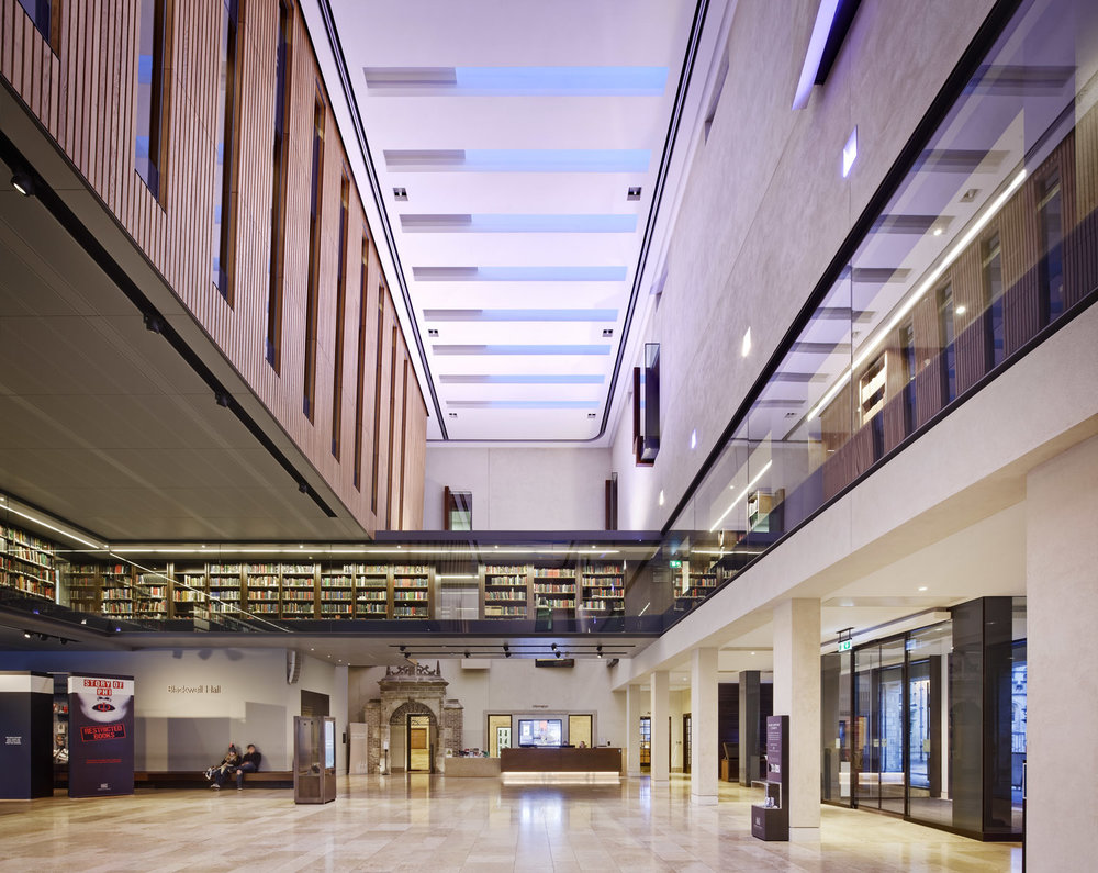 Photography by Dan Paton showcasing Blackwell Hall, Weston Library - part of the Bodleian Libraries, University of Oxford, Oxford, UK