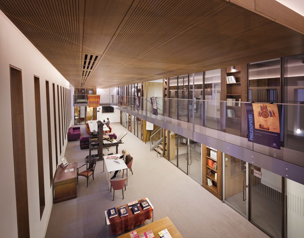 Photography by Dan Paton showcasing the Visiting Scholar's Center in the Weston Library - part of the Bodleian Libraries, University of Oxford, Oxford, UK