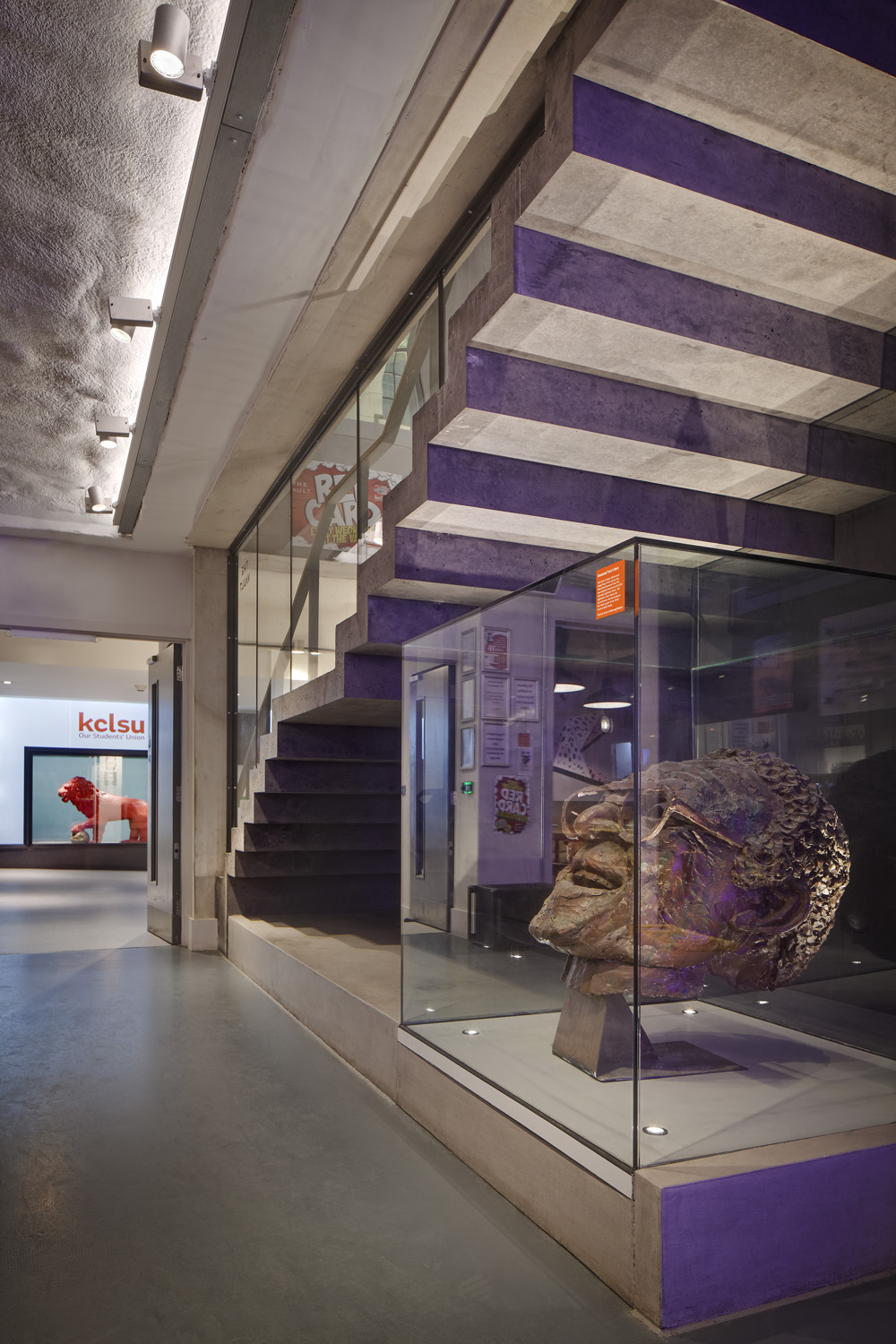 New lighting installations by Hoare Lea at Kings College London Student Union, in Bush House, London, UK.