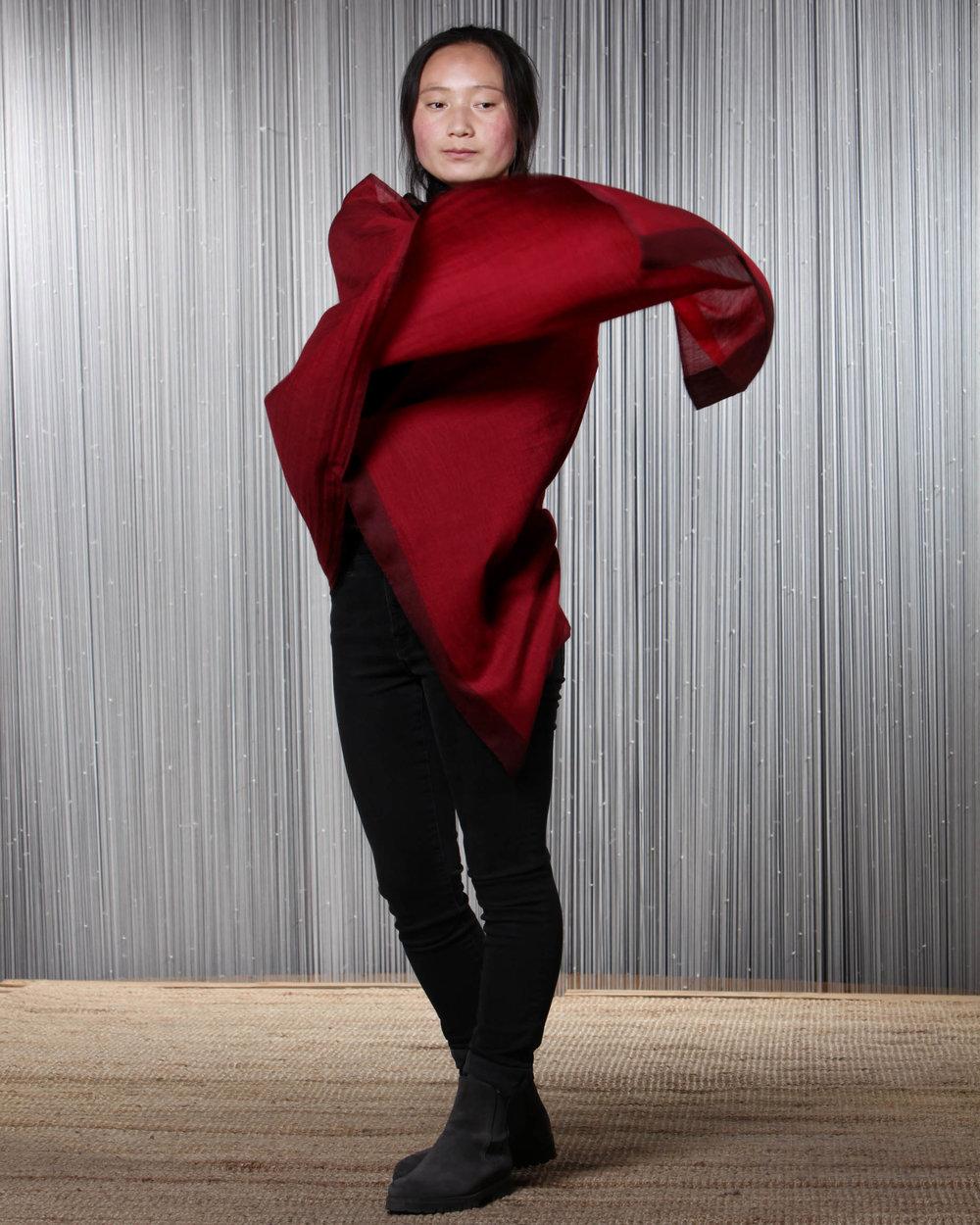 Pema Ta modelling shawls, Norlha Factory, Ritoma, Amdo, Tibet