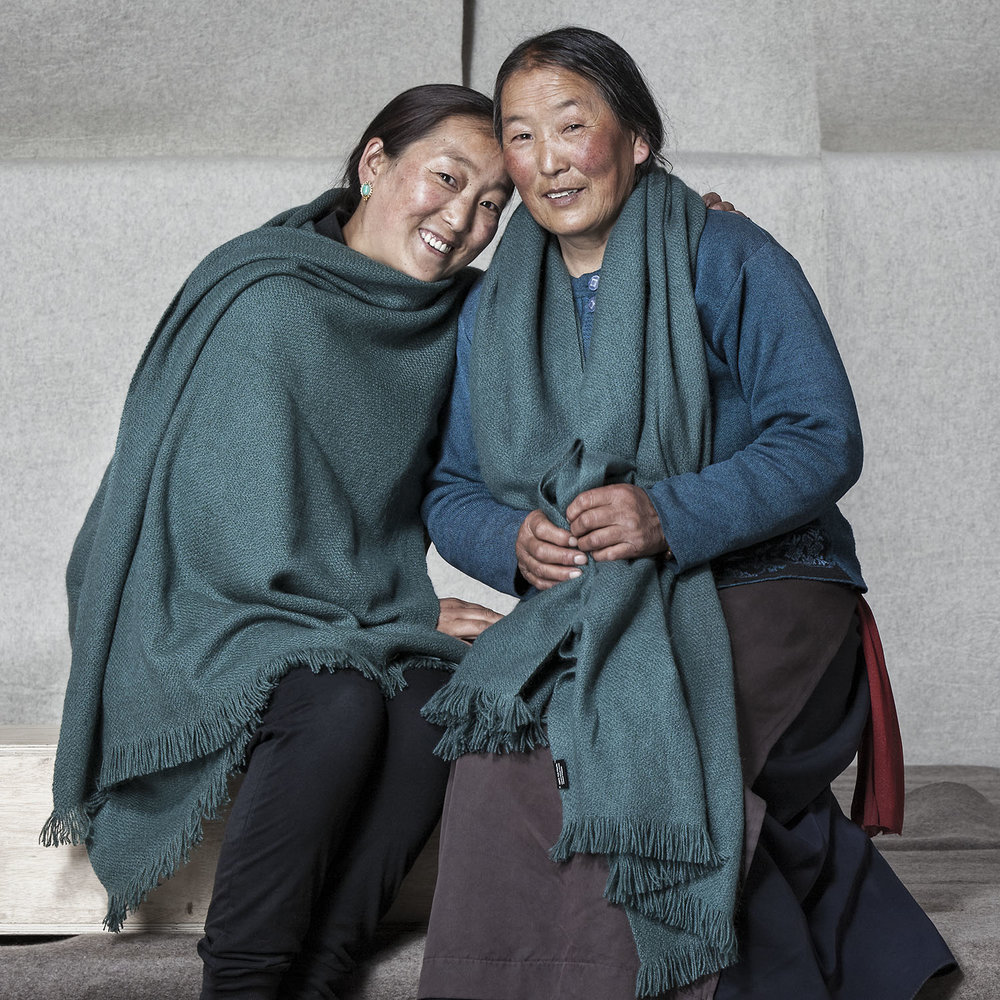 Mother and daughter modelling shawls, Norlha Factory, Ritoma, Amdo, Tibet