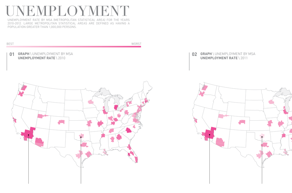 A closeup of the map showing unemployment data by MSA