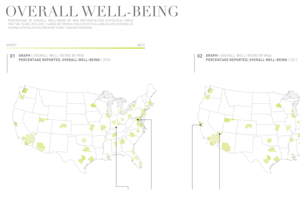 A closeup of the map showing overall well-being data by MSA