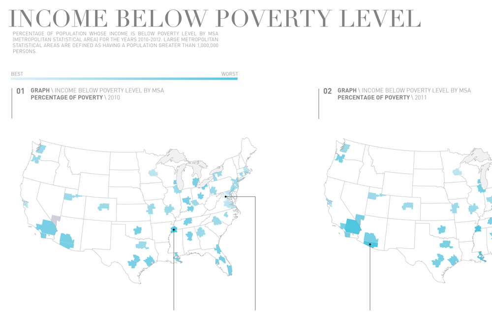 A closeup of the map showing percentage of households living below poverty level by MSA