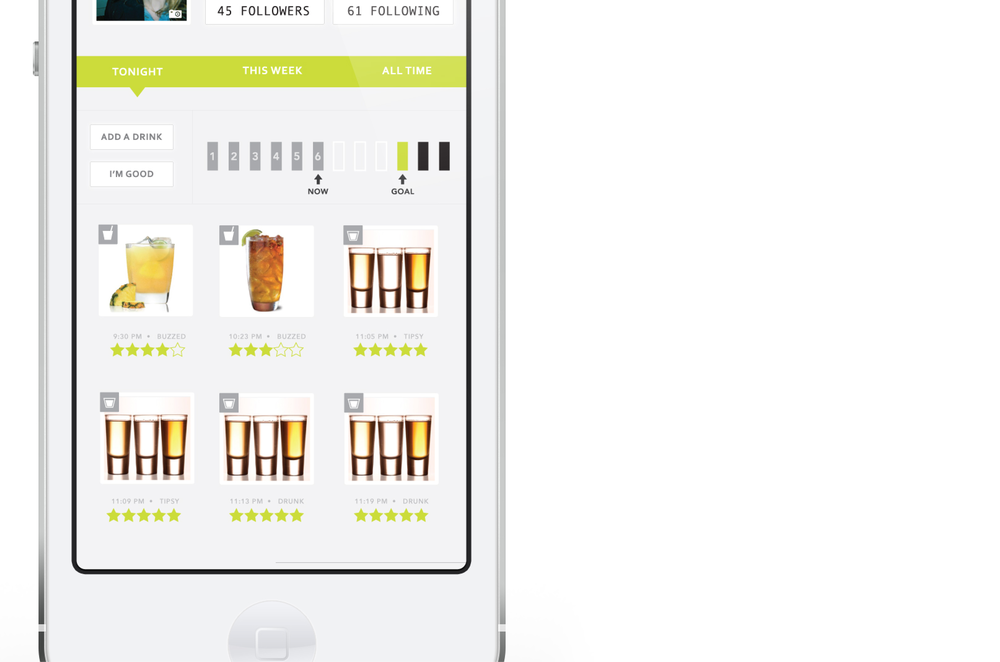Users could rate the drinks they've had, share stats with friends and see at a glance how many drinks they've had and how close they are to reaching their threshold. Additionally, BarBack would alert users every 30 minutes and/or after each drink entry that they should get a glass of water!
