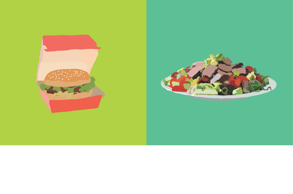 A pre-packaged hamburger vs. a salad with strips of filet mignon