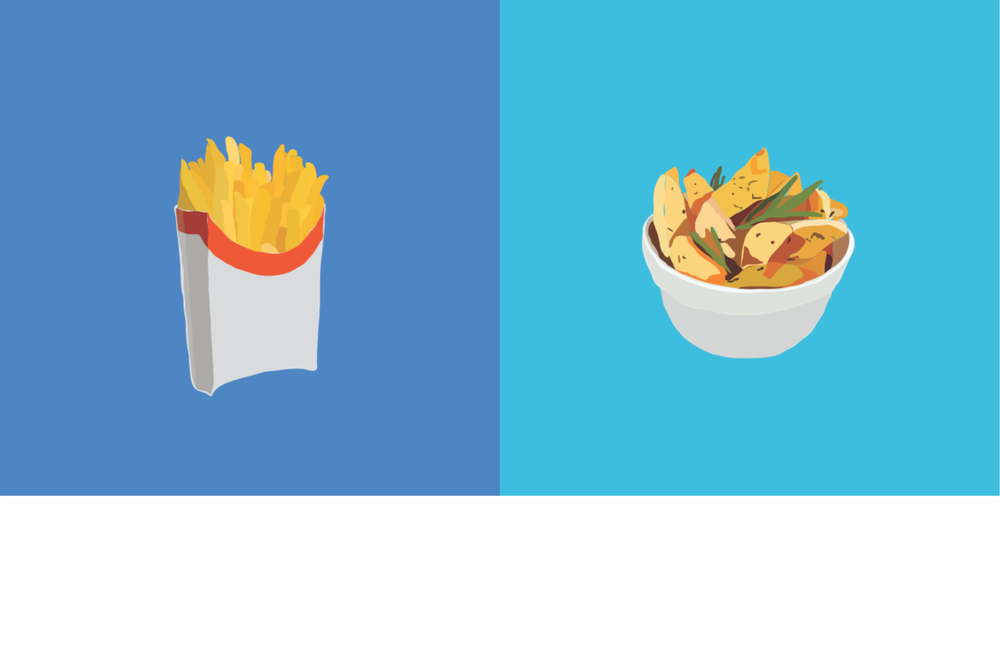 Highly processed french fries vs. rosemary fingerling potatoes