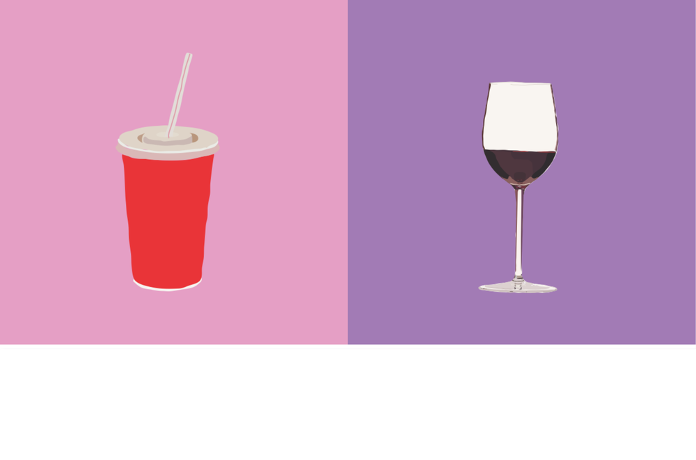 A sugary fountain drink vs. a glass of red wine