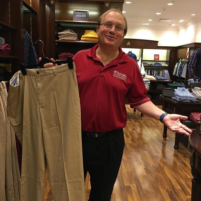 Riveting morning shopping for pants that look like all of my Dad's other pants