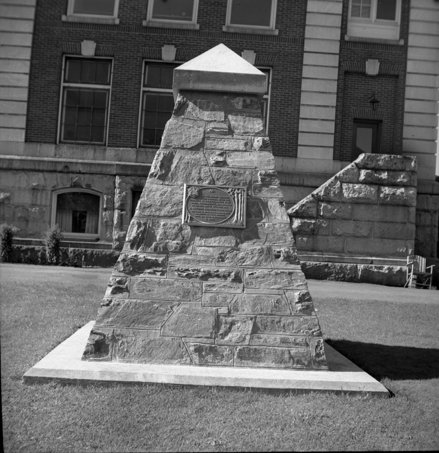 Cairn at courthouse [DN-372]
