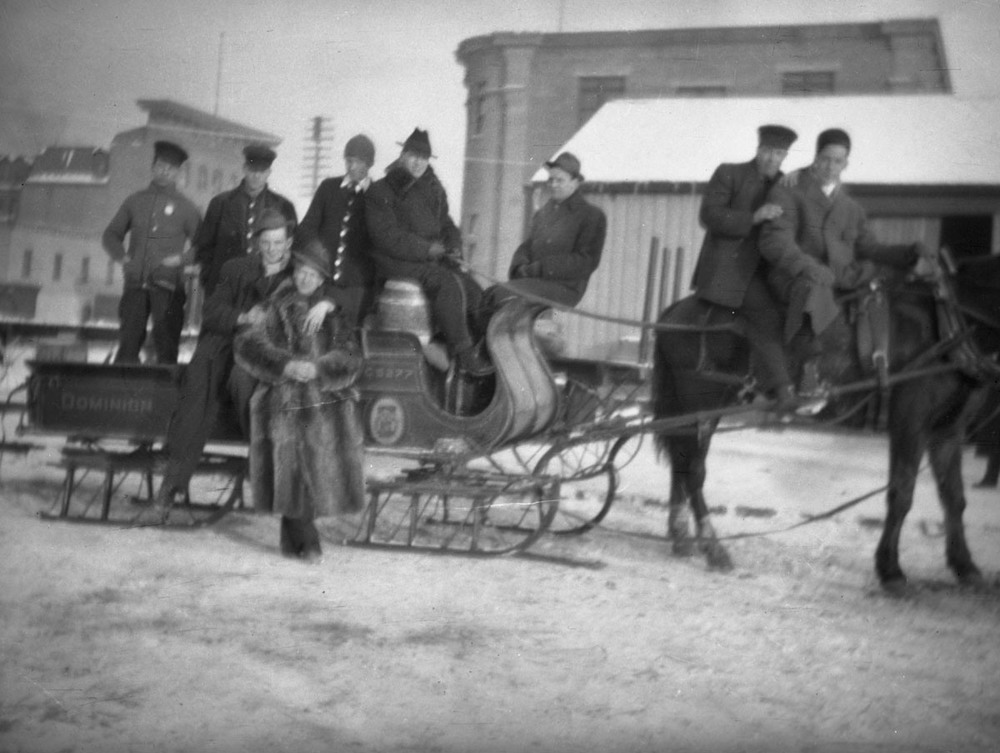 Group of Men, Horse-Drawn Sleigh, c1910 [DN-990]