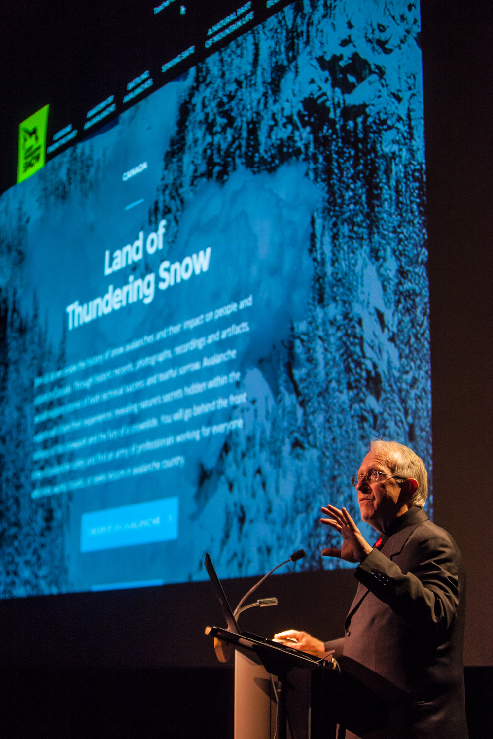 Dr. John Woods, lead researcher and writer of Land of Thundering Snow presents the website at a launch event at Revelstoke Performing Arts Centre, March 4, 2015.