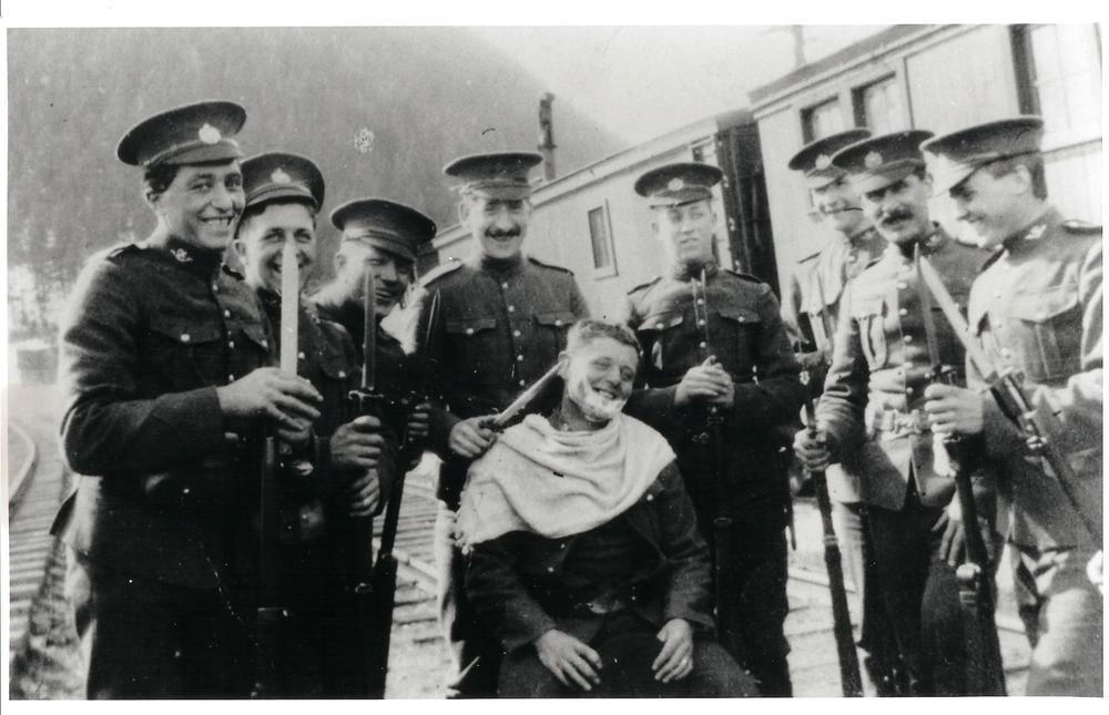 Bridge guards at Illecillewaet circa 1915. John Collia at left.