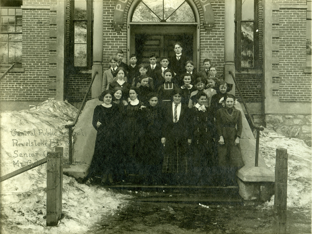 Central School, Revelstoke, senior class, 1911.Howard Cooke is in the very back row, at the far left.