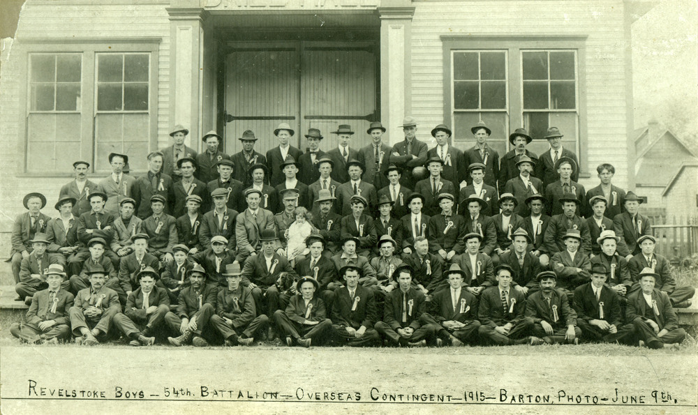 Revelstoke recruits to the 54th Kootenay Battalion in June 1915. Thomas Copeland is among the men in this photograph.
