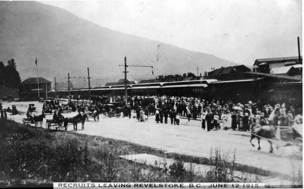 Recruits leaving Revelstoke in June of 1915.