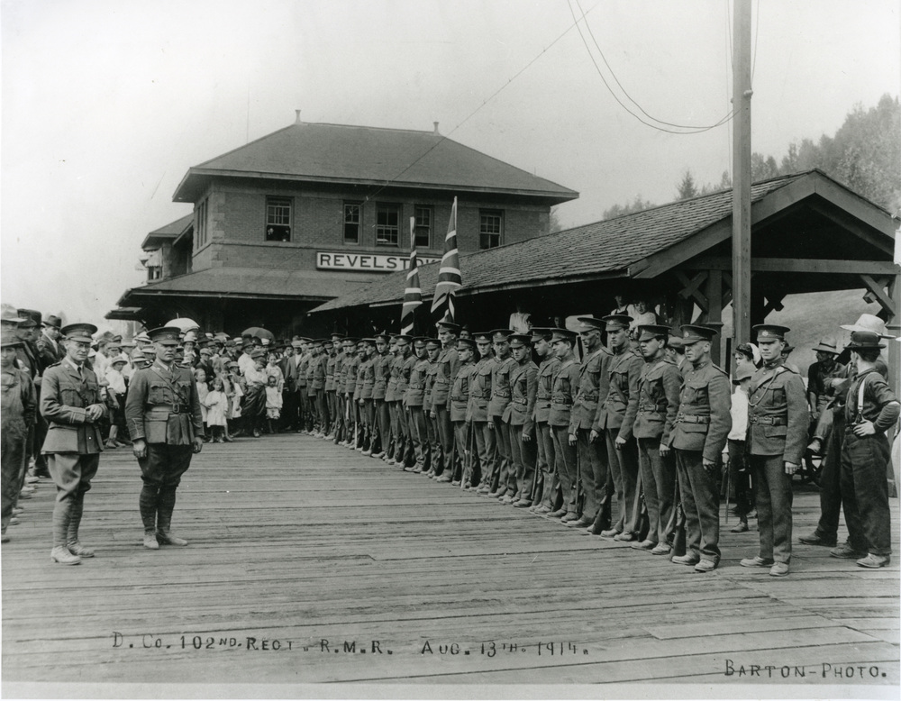 Rocky Mountain Rangers at Revelstoke CPR Station, August1914.
