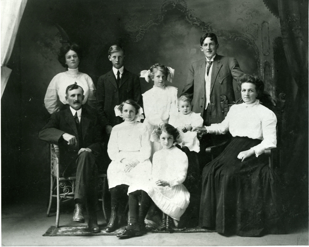 James Henry Hay, (2nd from left in top row) with his siblings and parents Henry and Mary Ellen Hay, circa 1910.