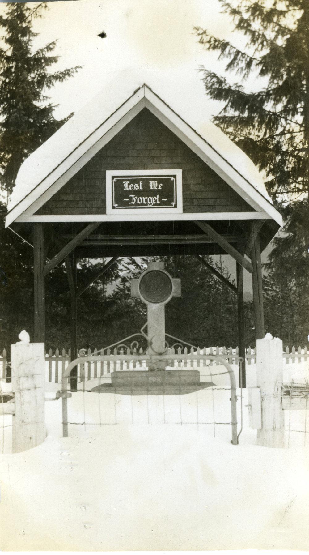 Cenotaph at Malakwa, B.C., circa 1930s
