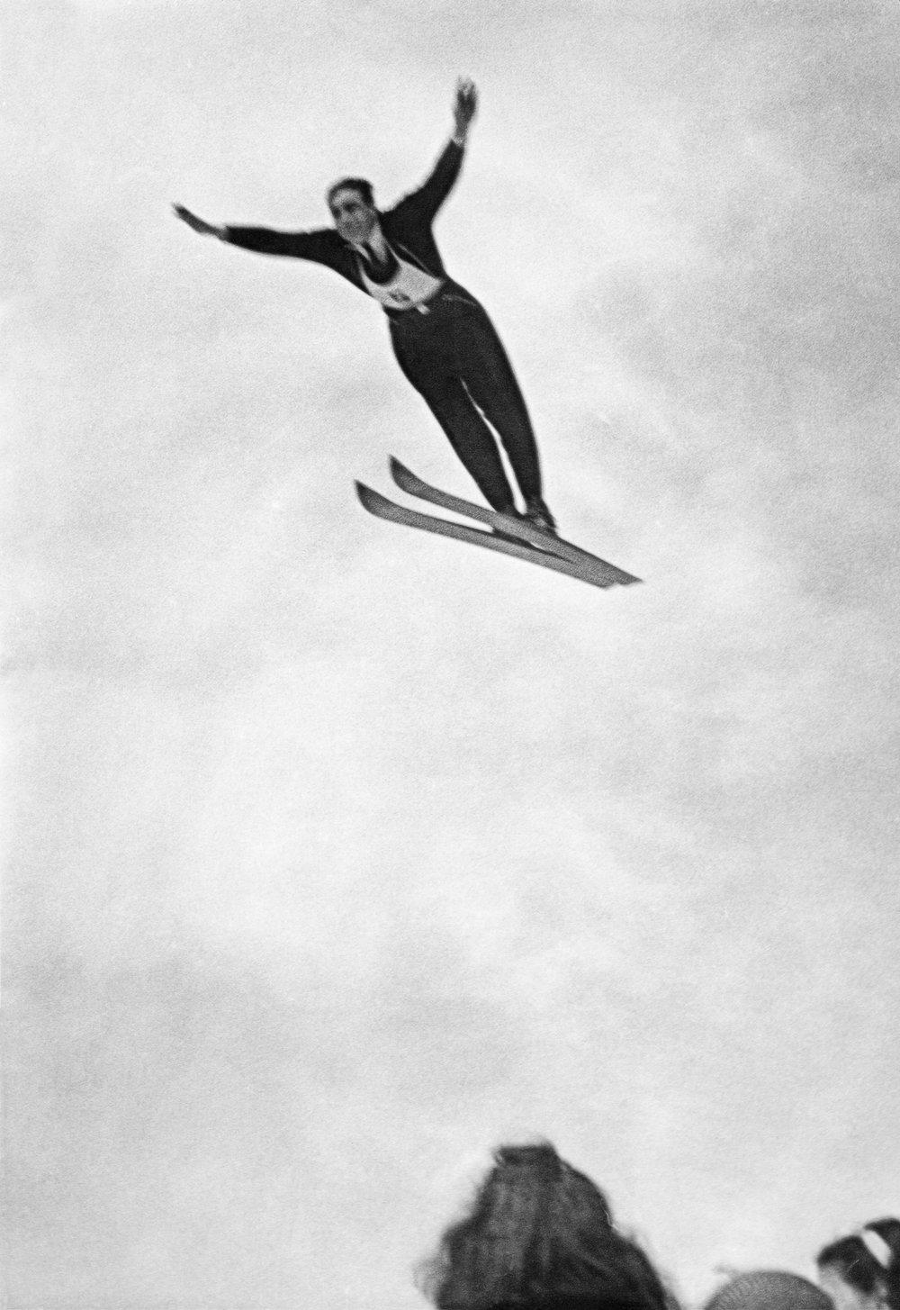 Samuel & Martha Pletsch's son, ski jumper Earle Pletsch, 1947.