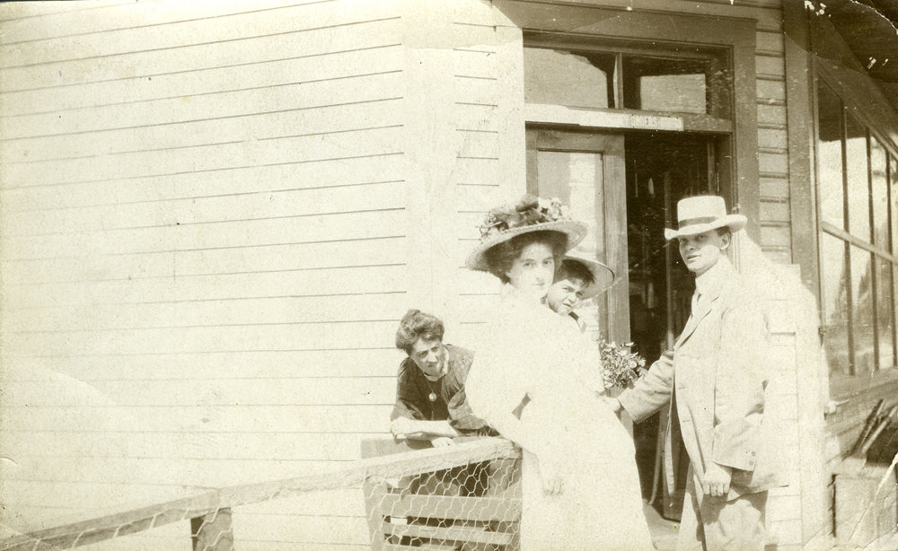 Mary and Dr. Hamilton at the original Revelstoke CPR Station, date unknown.