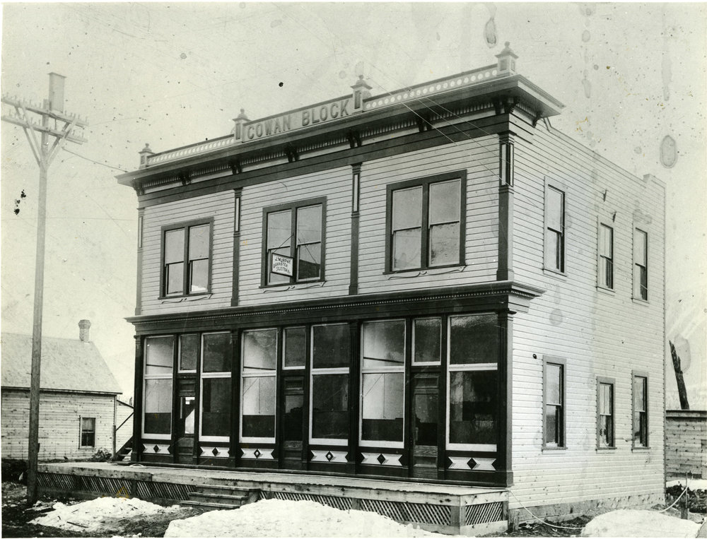 Cowan Block, Third and Charles Street,  Revelstoke, c.1900. The property was built in 1897 to house the Revelstoke Telephone Company.