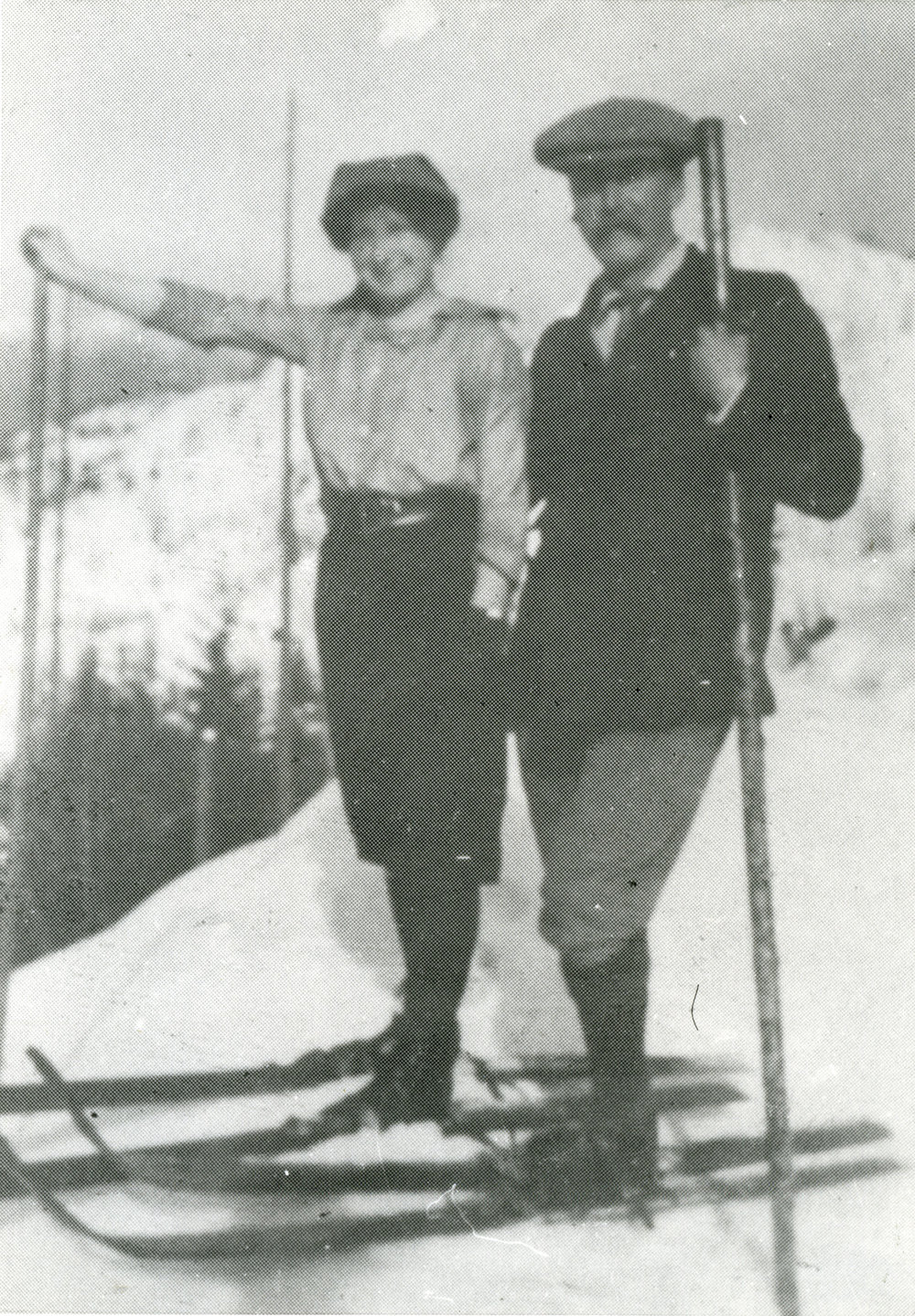 Mr. & Mrs. B. R. Atkins skiing, c.1920s.