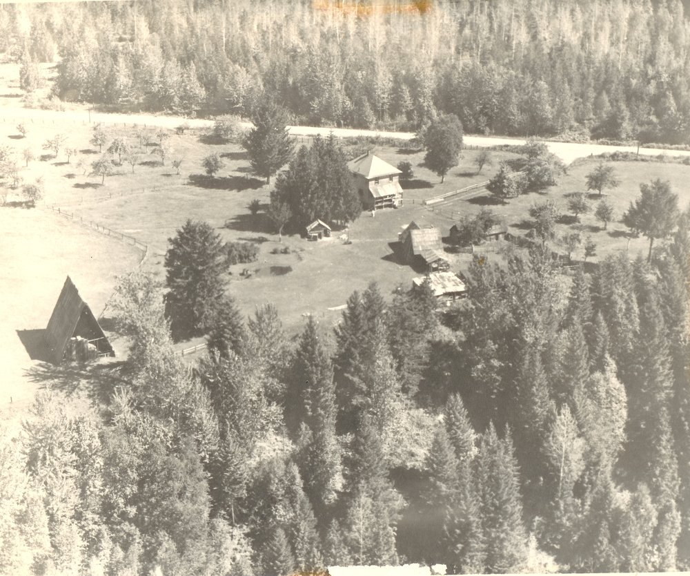 The Lanzo family farm was located on Airport Way, just past Nichol Road. The A-Frame barn, built around 1916, was a local landmark for many years.