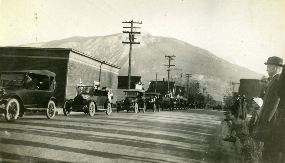 The Armistice Parade to mark the end of the war on November 11, 1918 was delayed in Revelstoke to allow for the body of Allan McDonald to be conveyed to the CPR station after his funeral that morning.