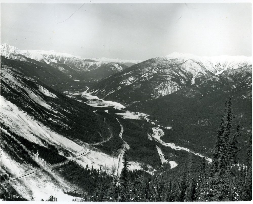 PSA.5 East side Rogers Pass. Beaver Valley with original railway line. Mar. 1958.jpg