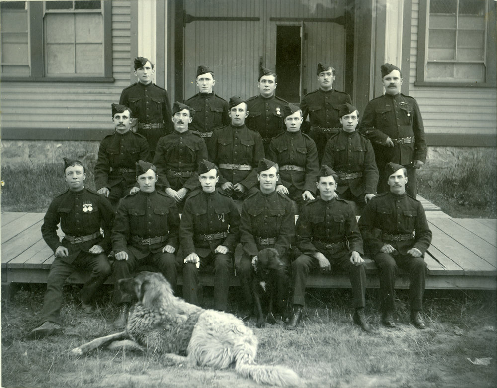 World War I recruits in front of Revelstoke Drill Hall, circa 1914. William McInerny is in the second row, 2nd from the left. P53RMA