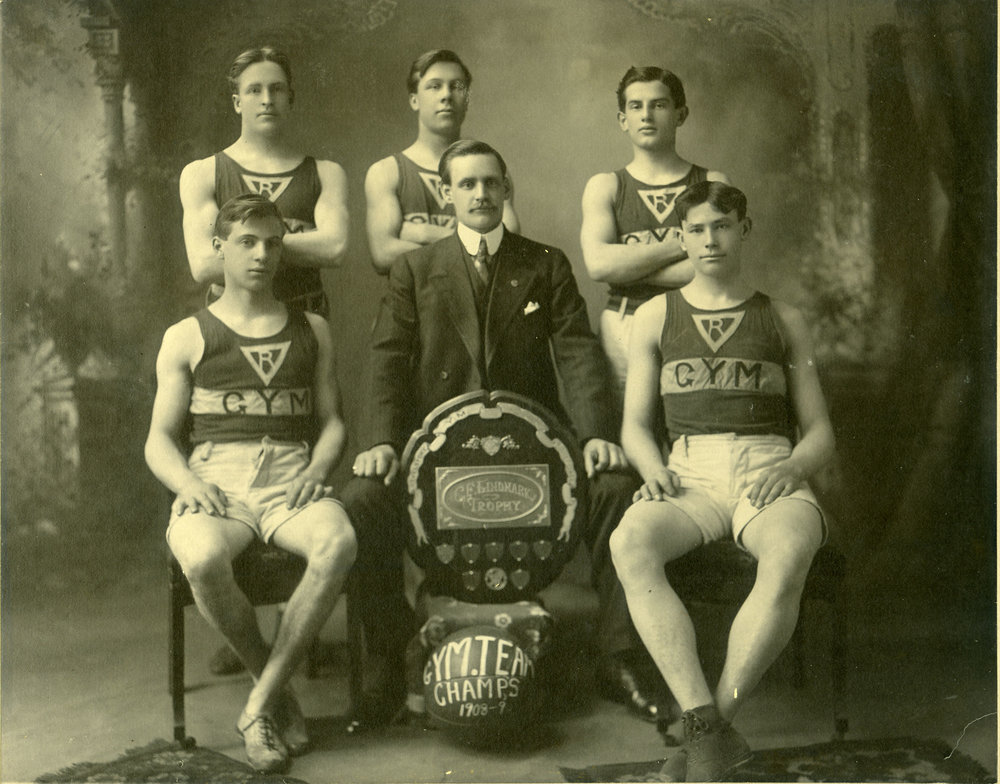 YMCA Senior Basketball Champions, 1908 to 1909. Earl Pettipiece seated, right