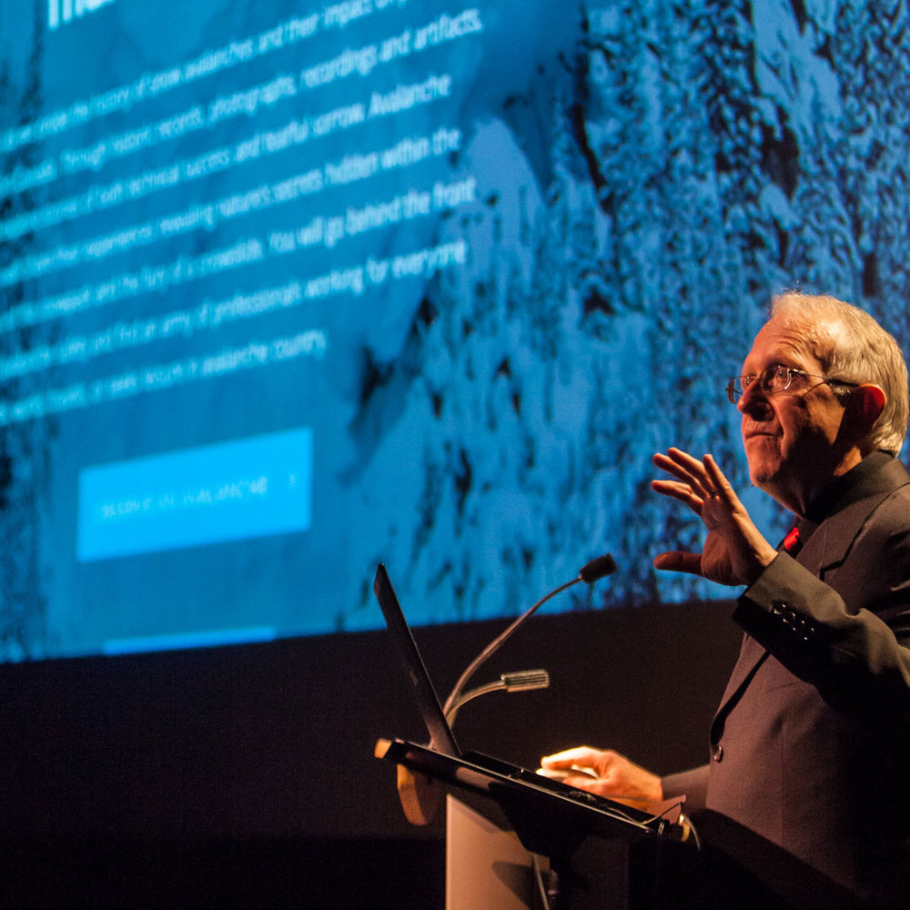 - Dr. John Woods, lead researcher and writer of Land of Thundering Snow presents the website at a launch event at Revelstoke Performing Arts Centre, March 4, 2015.