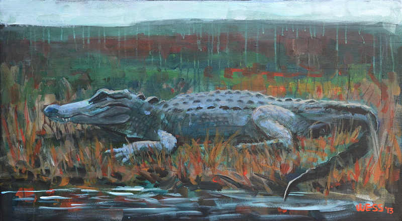 "Alligator,  22x40"", SOLD"