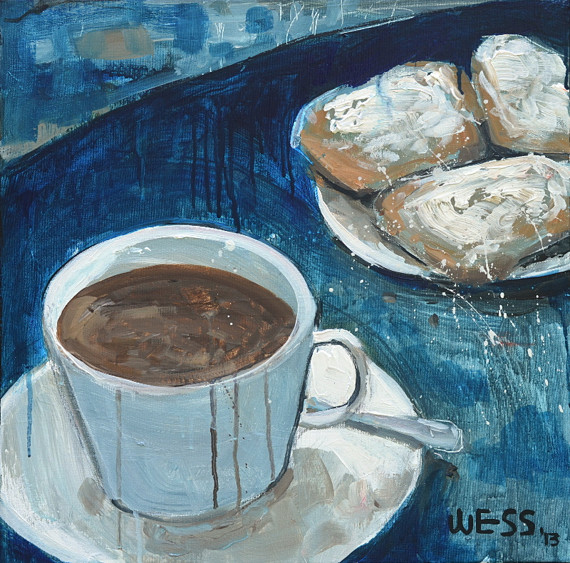 "Coffee and Beignets #2  20x20"", $250"