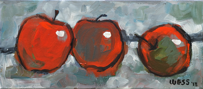 "Three Apples,  8x18"", SOLD"