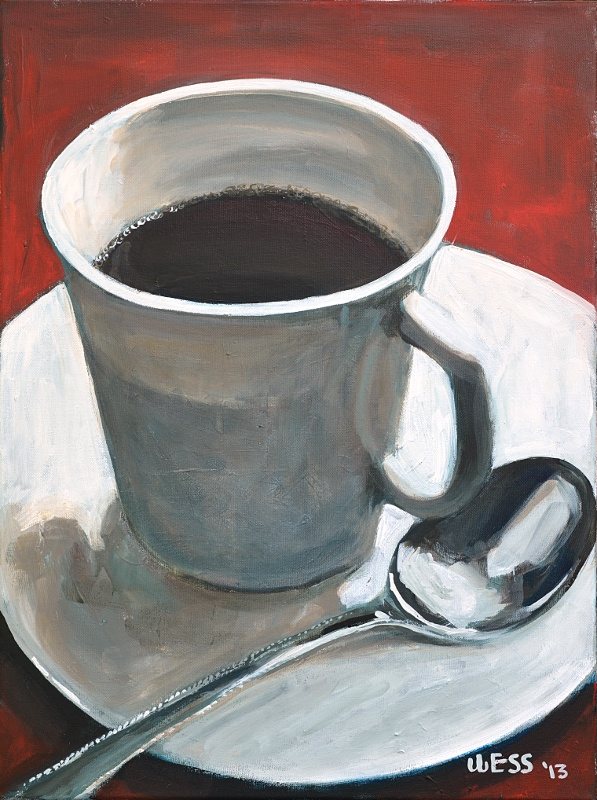 Coffee Cup and Spoon, 24x18""