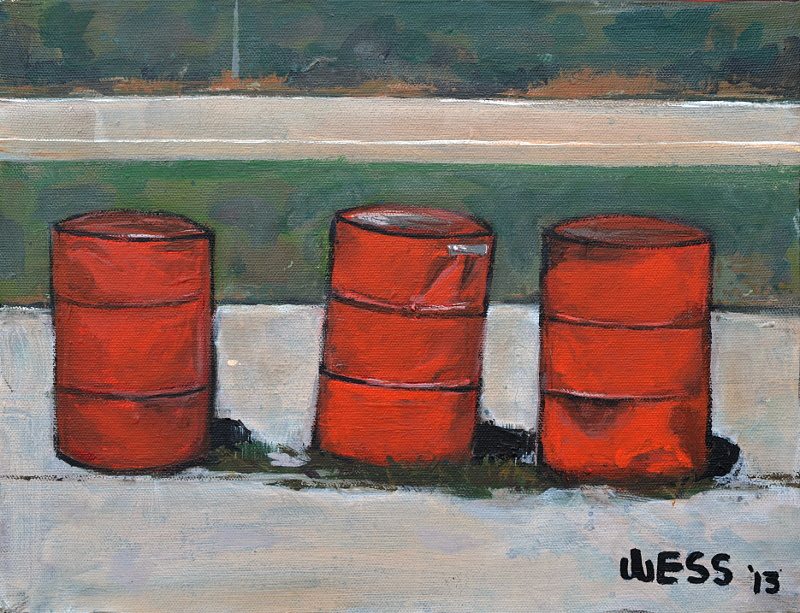 "Three Barrels  11x14"", $80"