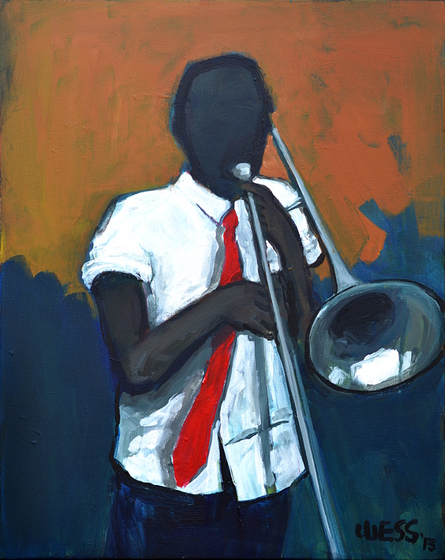 """Trombone Practice 20x16"""", $250"""