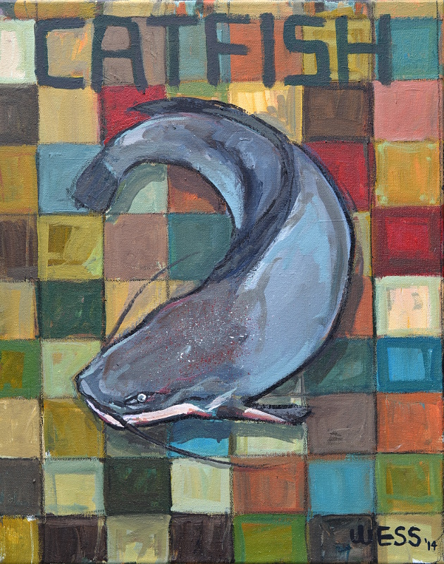 """Catfish Quilt, 20x16"""", $250"""
