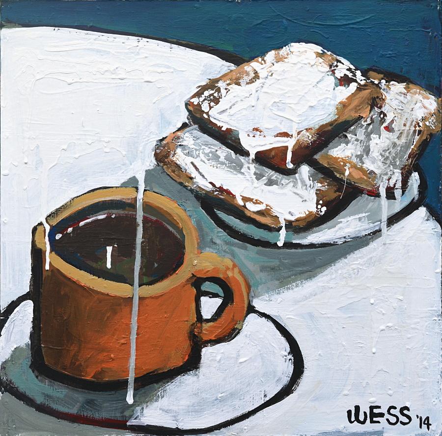"Coffee & Beignets #6, 16x16"", $250"