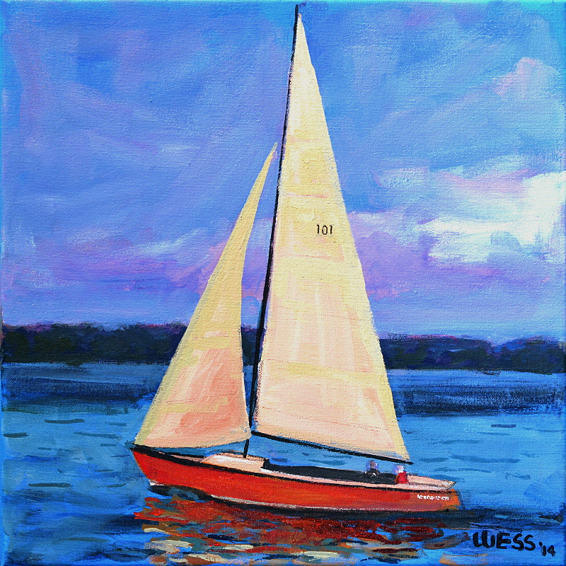 "Sailing the Last Light, 16x16"", $200  (no. 1011)"