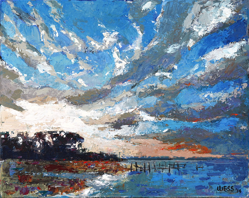 """Sunset with Old Dock, 16x20"""", SOLD"""