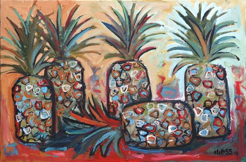 "Pineapples #3, 24x36"", $550 (framed)"