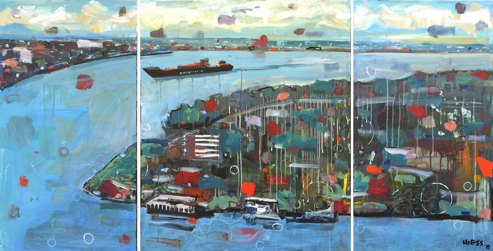 "Container Ship Rounding Algiers Point (triptych), 36x72"", SOLD"
