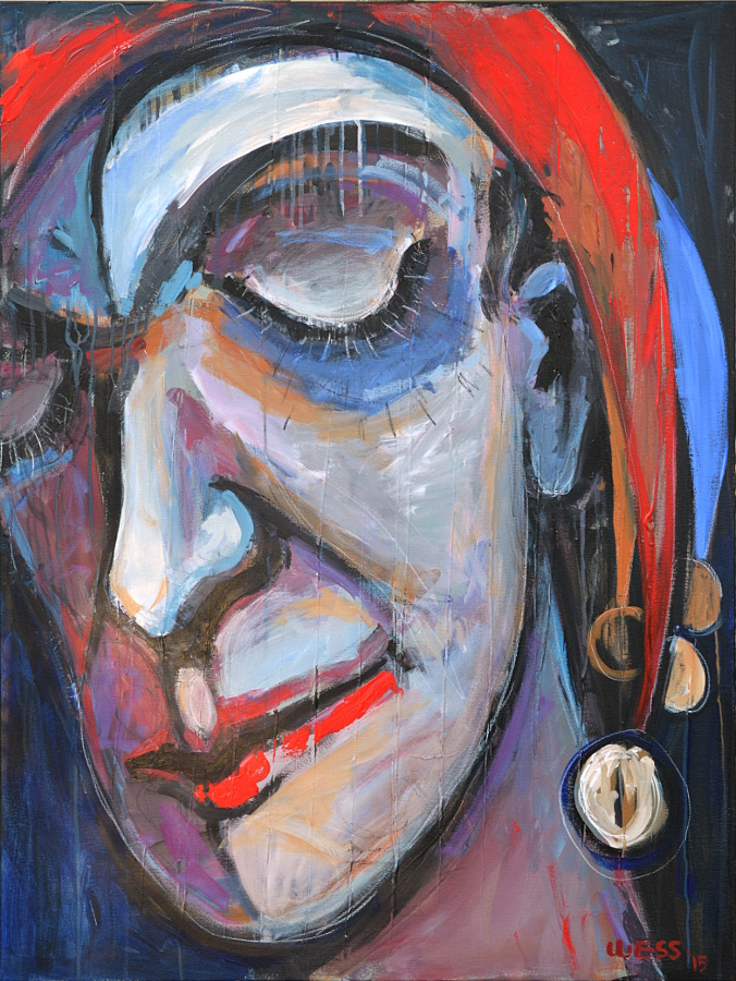 "A Jester's Lament, 48x36"", $1400 -(no. 1033)"