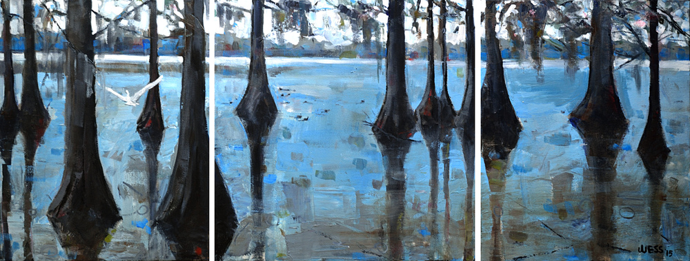 "Cypress Trees on Lake St John,  triptych , 20x53"", SOLD"