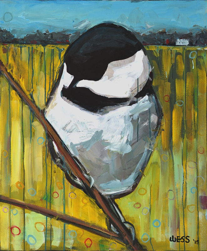 "Chickadee, 36x30"", $800  (no. 1041)"