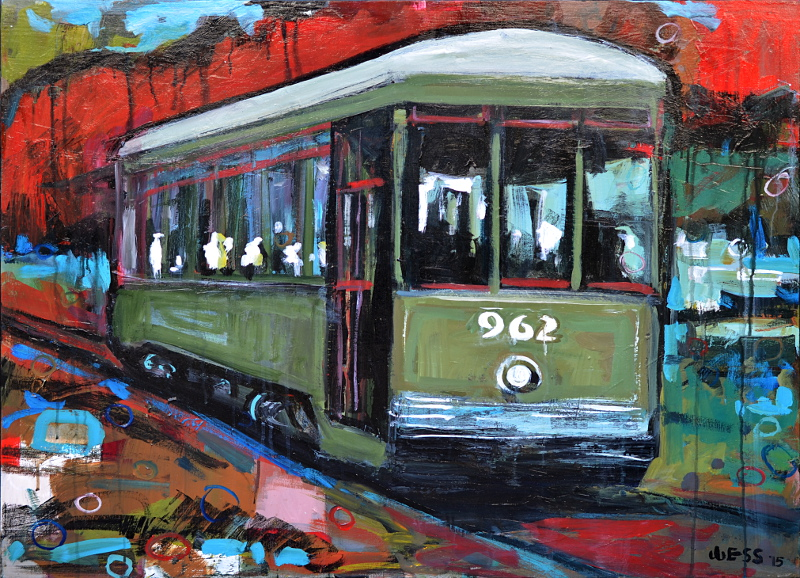 "NOLA Streetcar, 30x40"", SOLD  (no. 1040)"